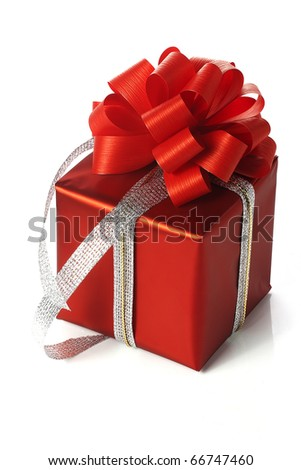 red present box - stock photo