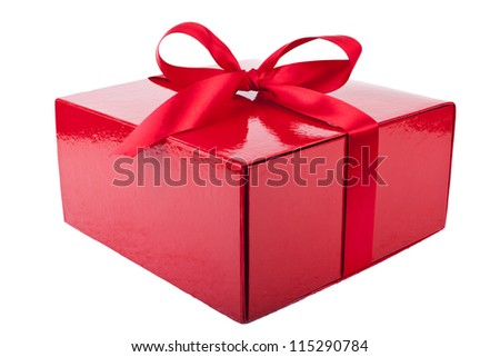 red present box isolated on white - stock photo