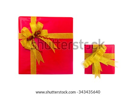 red present box with golden bow and ribbon isolated on white - stock photo
