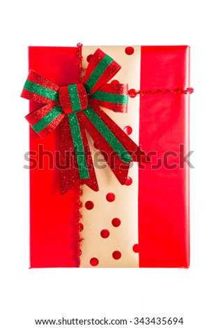 red present box with red bow isolated on white - stock photo