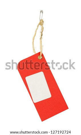 red price tag isolated on white - stock photo