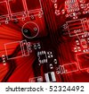 Red printed-circuit board for electronic components - stock photo