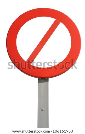 red prohibited sign isolated on white background - stock photo