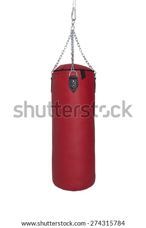 Red Punch Bag Isolated on White Background (file includes clipping path) - stock photo