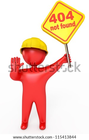 Red puppet man in a helmet holding a plate. Error 404 not found. Isolated on white background. 3d render - stock photo