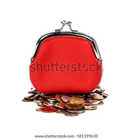 Red purse and coins  on white background - stock photo