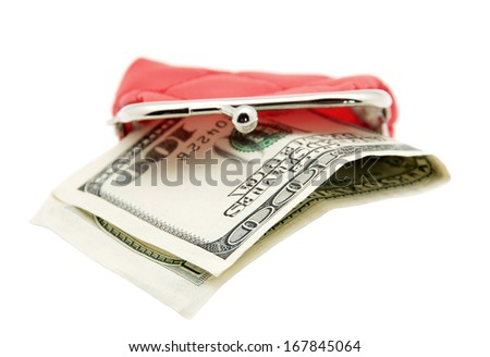 Red purse and money isolated on white - stock photo
