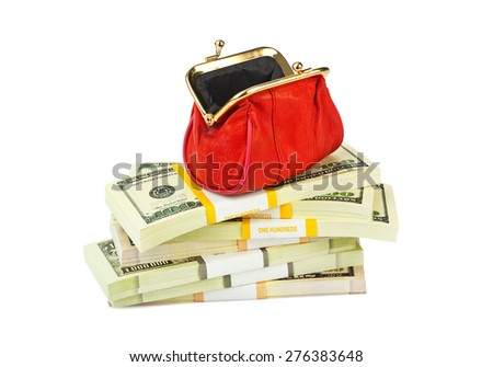 Red purse and money isolated on white background - stock photo