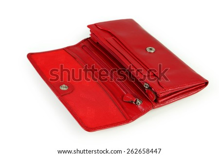 Red purse isolated on white