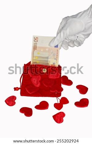 Red purse with red hearts and fifty euro banknote - stock photo