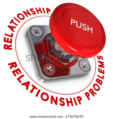 Red push button over white background. Relationship problems and urgency. - stock photo