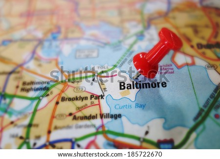 Red push pin in a map of Baltimore Maryland