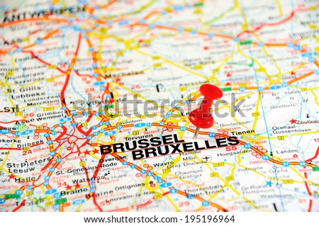 Red push pin pointing at Brussels, Belgium  - stock photo