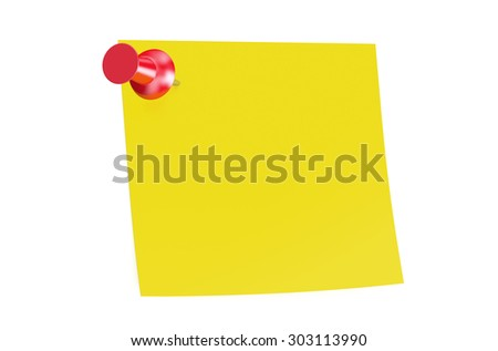 red push pin with blank sticky note - stock photo