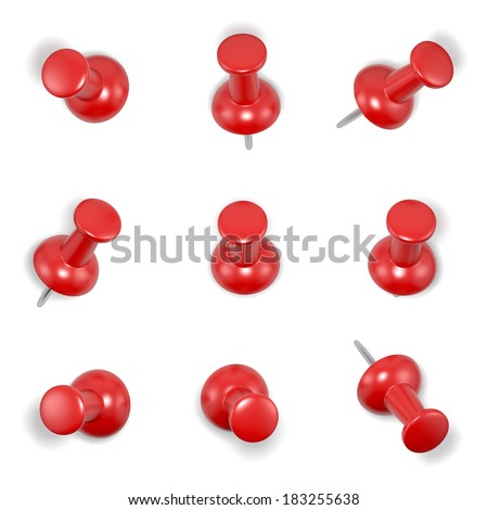Red push-pins on white background. Computer generated image with clipping path. - stock photo