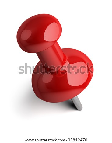 Red pushpin. 3d image. Isolated white background. - stock photo