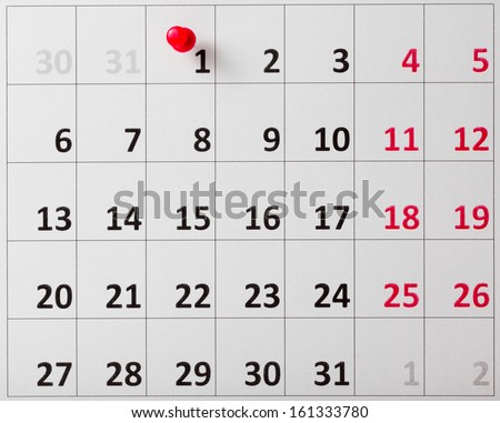 Red Pushpin in calendar.Close-up.  - stock photo