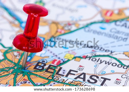 Red pushpin on the Northern Ireland map showing Belfast location - stock photo