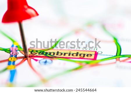 Red pushpin showing Cambridge City On Map, United Kingdom, Travel Destination Concept - stock photo