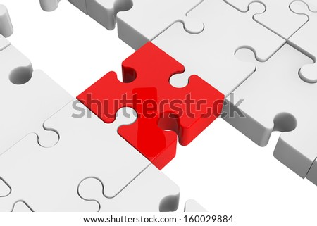 Red puzzle as a bridge with a white parts on a white background - stock photo