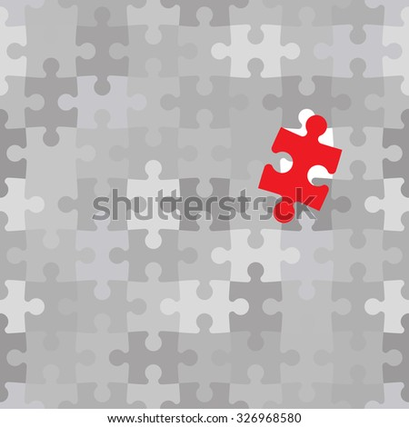 Red puzzle piece different from another grey ones, raster illustration - stock photo