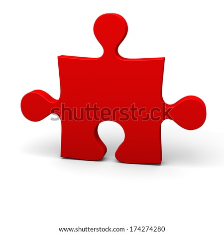 Red puzzle piece isolated on white background