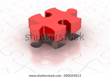 Red puzzle piece with item puzzle background, 3D render