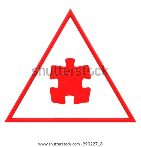 Red puzzle sign - stock photo