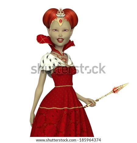 red queen elf portrait - stock photo