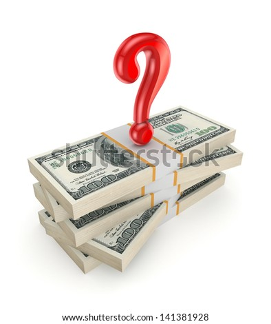 Red query mark on a stack of dollars.Isolated on white.3d rendered. - stock photo