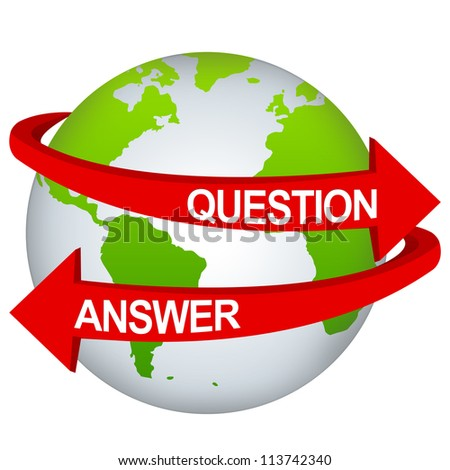 Red Question And Answer Arrow Around The Green Earth For Business Direction Concept Isolate on White Background - stock photo
