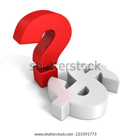 red question mark and white dollar currency symbol. 3d render illustration