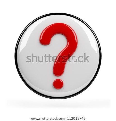 Red question mark. 3d image. Isolated white background. - stock photo