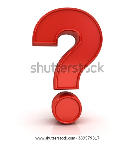 Red question mark isolated over white background with reflection