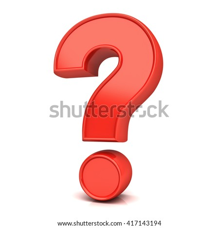 Red question mark isolated over white background with reflection and shadow. 3D rendering.