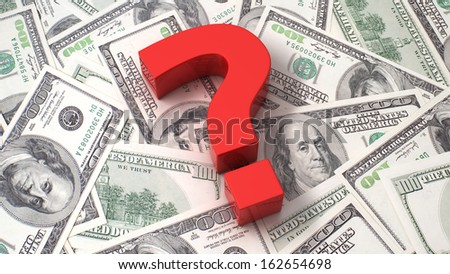 Red question mark on the background of one hundred dollar bills - stock photo