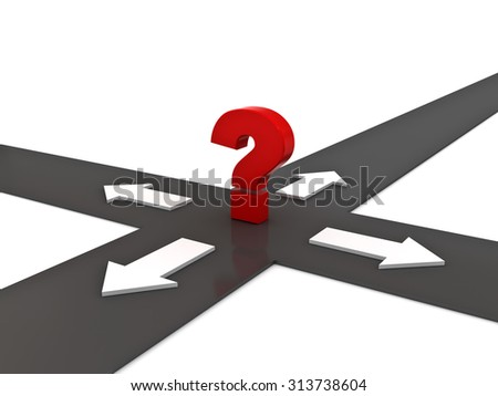 Red question mark on the crossroad with four arrow directions over white background