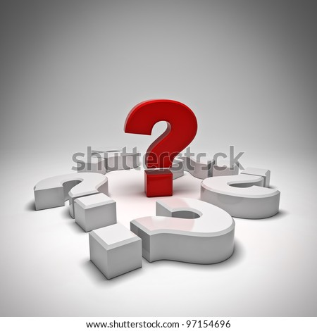 Red question mark on white background - stock photo