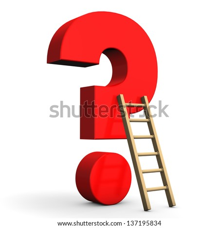Red question mark with ladder on the white background.