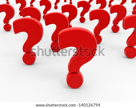 Red question marks on white background. 3D illustration. - stock photo