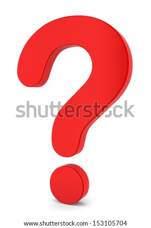 Red question sign. 3d illustration on white background  - stock photo