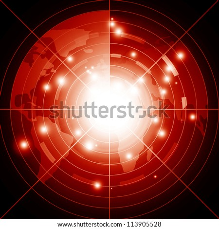 Red radar screen performing a scan of the region - stock photo