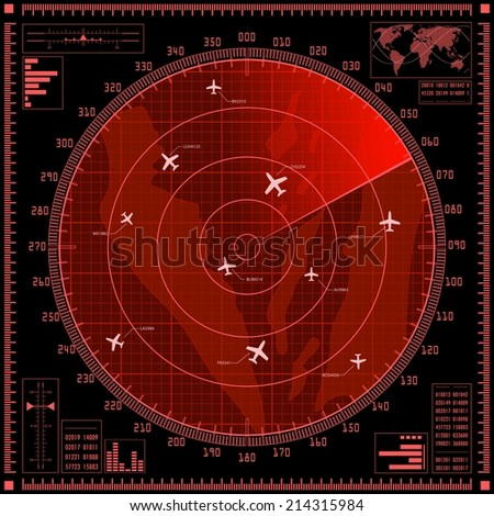 Red radar screen with planes. Raster version of the illustration. - stock photo