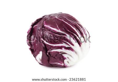 red radicchio cabbage isolated on white background - stock photo