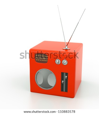 red radio in place with white background - stock photo