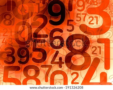 red random number math background texture illustration - stock photo
