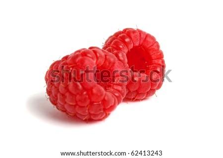 red raspberry on white - stock photo