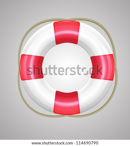 Red raster life buoy on gray