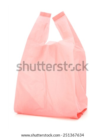 red recycled  plastic bag on white background - stock photo
