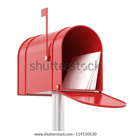 Red red mailbox with mails - stock photo